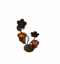Sfesnic metal cu 2 boluri si 2 flori - maro