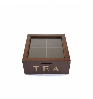 Cutie lemn cu geam 4 compartimente pentru ceai