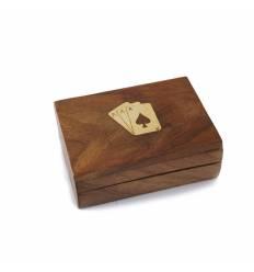 Caseta lemn cu alama pentru 1 pereche carti joc