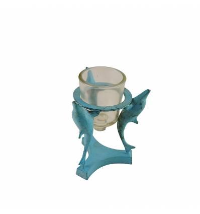 Sfesnic turcoaz  cu 3 delfini cu cupa