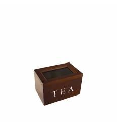 Cutie lemn maro 2 compartimente ceai