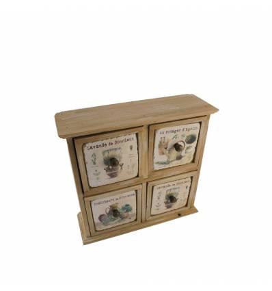 Dulapior lemn natur 4 sertare + ceramica