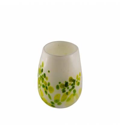 Vaza sticla alb cu verde