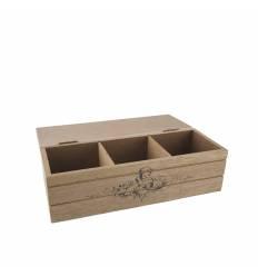 Cutie lemn natur  3 compartimente