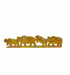 Tablou 5 elefanti in linie de agatat 100x25 cm