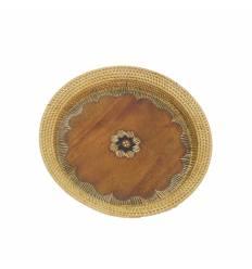 Farfurie ratan cu mahon rotunda 30cm