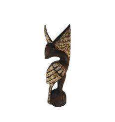 Statueta pelican lemn cu  coaja ou 40cm
