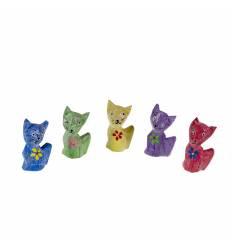 Set 5 pisici lemn 8 cm