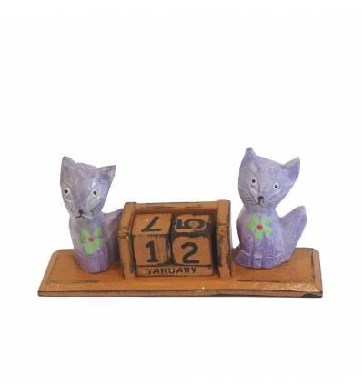 Calendar lemn 18 cm cu 2 pisici