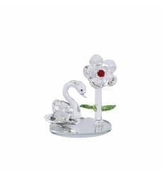 Cristal floare si lebada pe suport