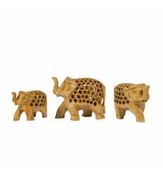 Set elefanti 3/set L perforati albi,  lemn