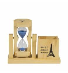 Clepsidra sticla cu lemn suport pix 2