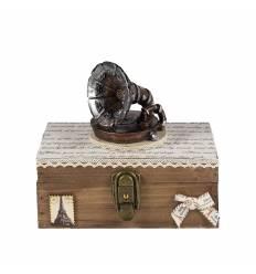 Cutie muzicala lemn gramofon f. mare