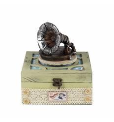 Cutie muzicala lemn gramofon patrata