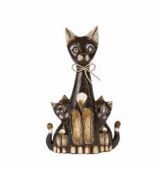 Pisica 2 pui cu papion 30 cm