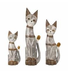 Set 3 pisici gri ochi albastrii (50,40,30 cm) C