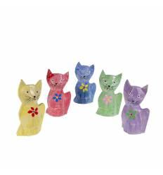 Set 5 pisici lemn 12cm