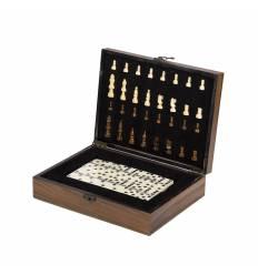 Cutie lemn piese sah si domino