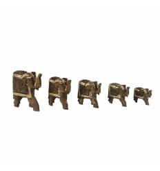 Set 5 elefanti lemn