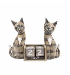 Calendar 2 pisici lemn 20 cm