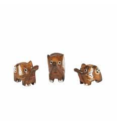 Set 3 elefanti lemn