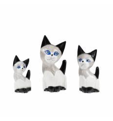Set 3 pisici lemn ochi albastrii 20, 25,30cm