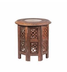 Masa lemn rosu octogonala mica